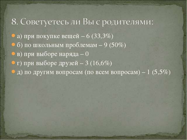 а) при покупке вещей – 6 (33,3%) б) по школьным проблемам – 9 (50%) в) при вы...