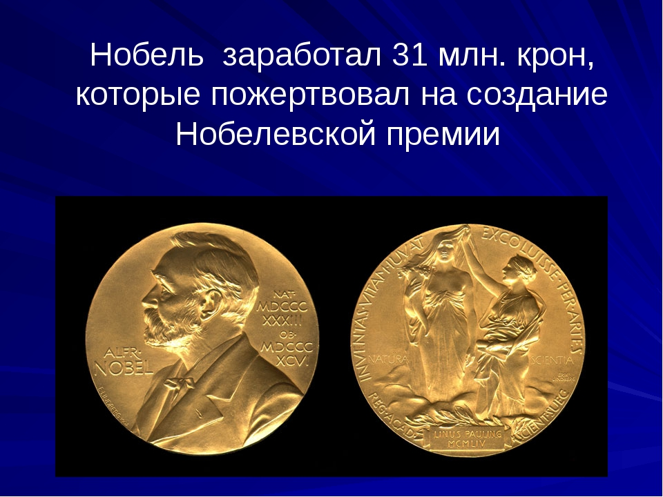 Нобель заработал 31 млн. крон, которые пожертвовал на создание Нобелевской пр...