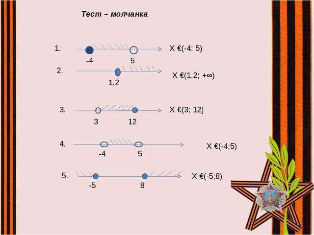 Тест – молчанка -4 5 Х €(-4;5) -4 5 Х €(-4; 5) 1. 1,2 2. Х €(1,2; +∞) 3 12 3....