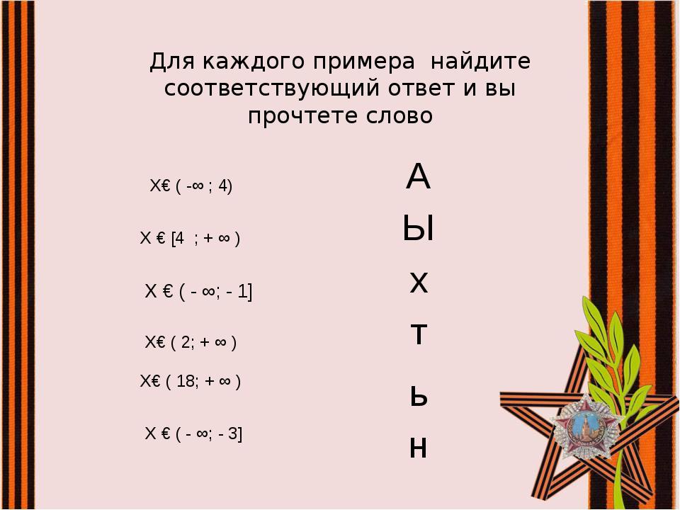 Для каждого примера найдите соответствующий ответ и вы прочтете слово Х€ ( -∞...