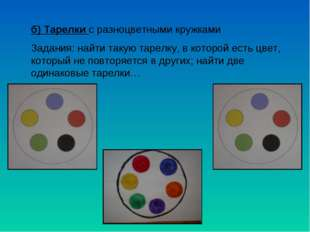 б) Тарелки с разноцветными кружками Задания: найти такую тарелку, в которой е