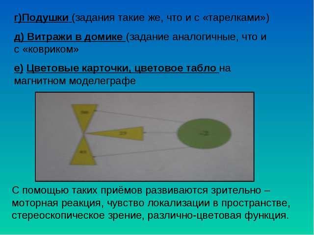 г)Подушки (задания такие же, что и с «тарелками») д) Витражи в домике (задани...