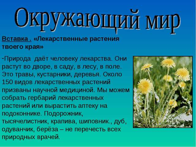 Вставка . «Лекарственные растения твоего края» Природа даёт человеку лекарств...