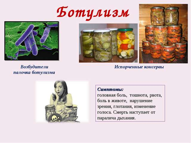 Ботулизм Симптомы: головная боль, тошнота, рвота, боль в животе, нарушение зр...