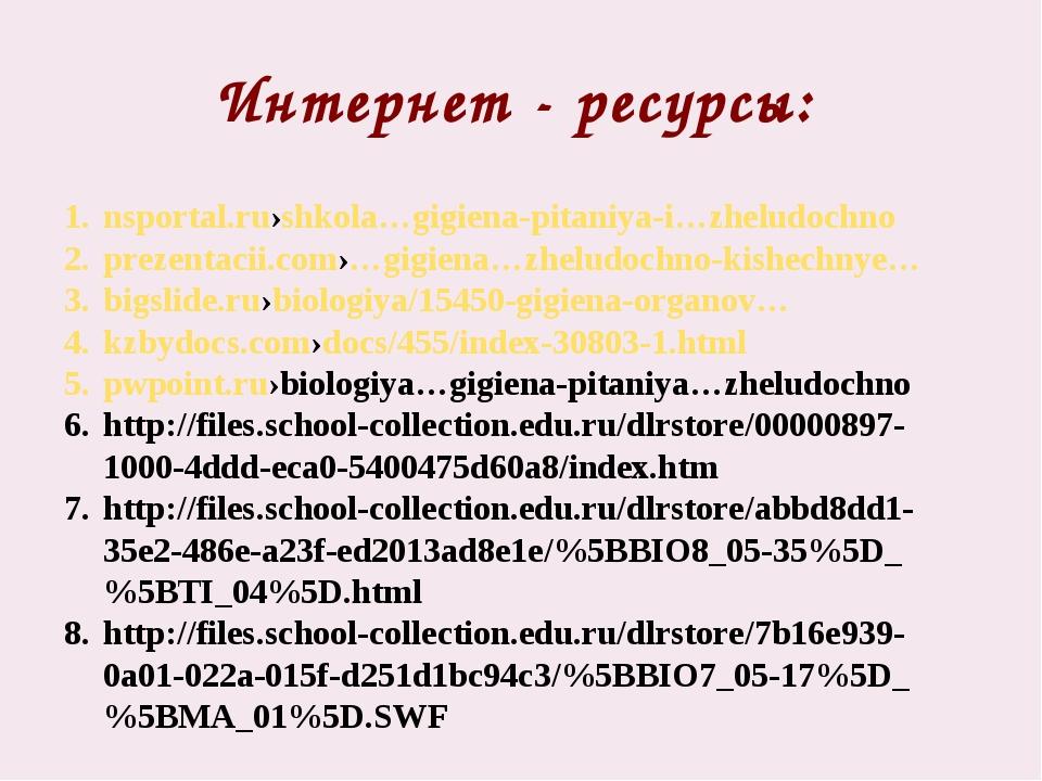 Интернет - ресурсы: nsportal.ru›shkola…gigiena-pitaniya-i…zheludochno prezent...