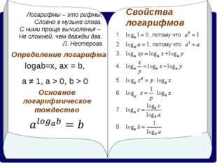 Логарифмы – это рифмы, Словно в музыке слова. С ними проще вычисленья – Не сл