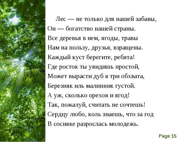 Лес — не только для нашей забавы, Он — богатство нашей страны. Все деревья в...