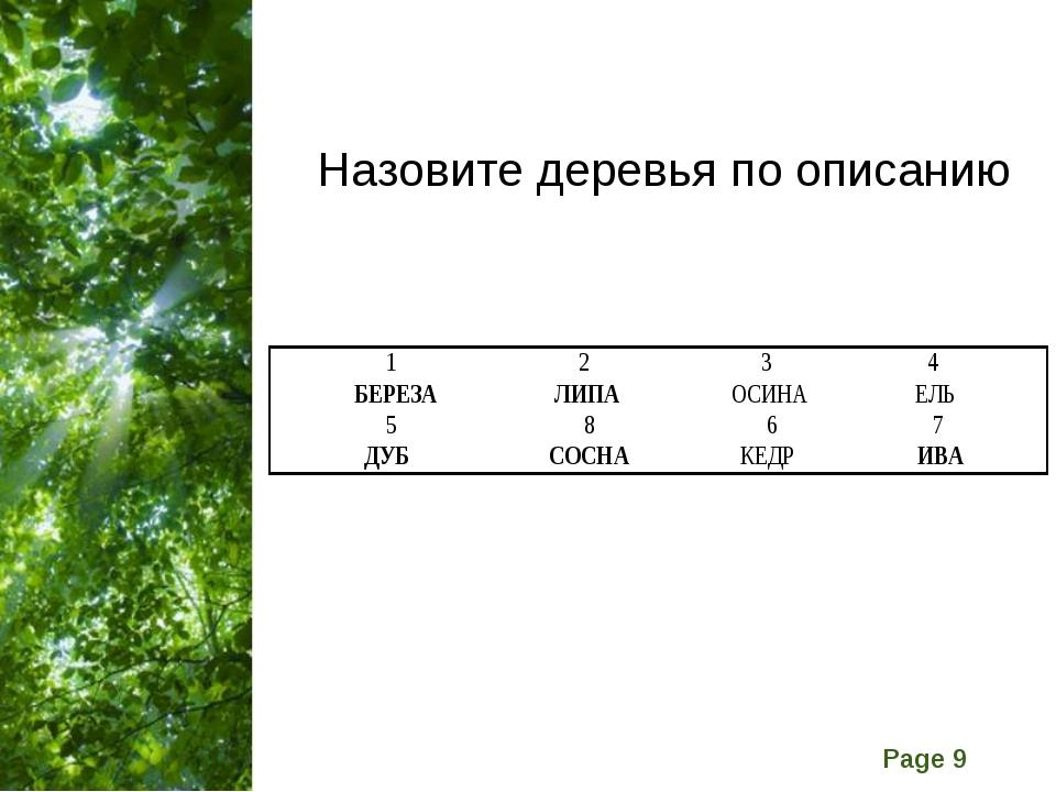 Назовите деревья по описанию Free Powerpoint Templates Page *