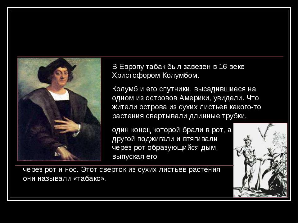 В Европу табак был завезен в 16 веке Христофором Колумбом. Колумб и его спутн...