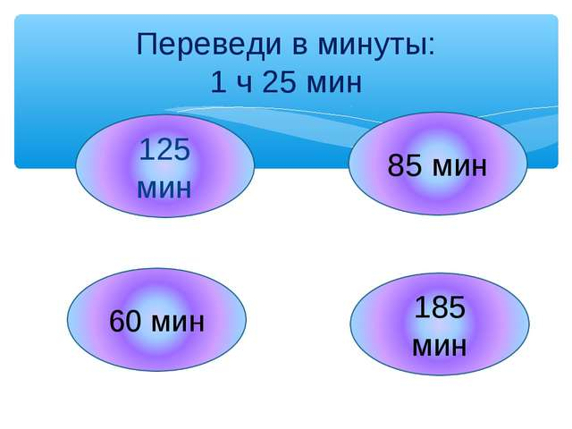 Переведи в минуты: 1 ч 25 мин