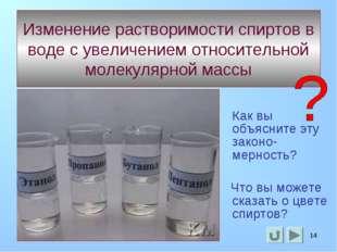* * Изменение растворимости спиртов в воде с увеличением относительной молеку