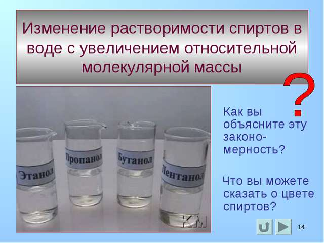 * * Изменение растворимости спиртов в воде с увеличением относительной молеку...