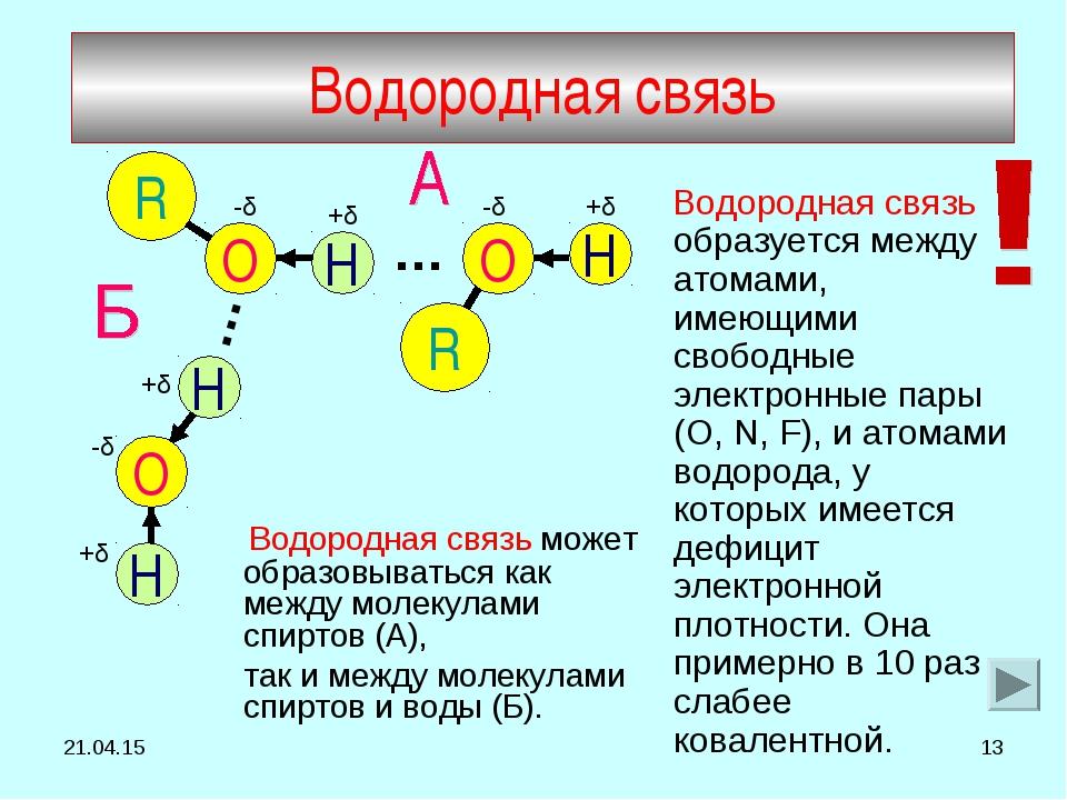 * * Водородная связь образуется между атомами, имеющими свободные электронные...