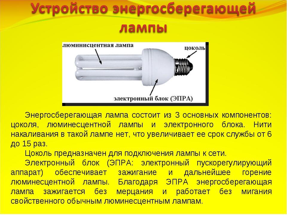 Энергосберегающая лампа состоит из 3 основных компонентов: цоколя, люминесцен...