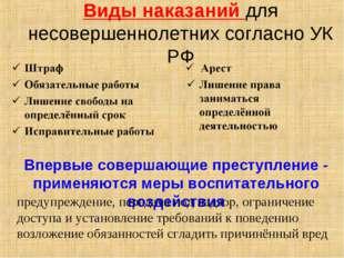 Виды наказаний для несовершеннолетних согласно УК РФ Впервые совершающие прес