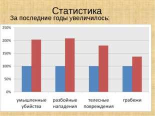 Статистика За последние годы увеличилось: