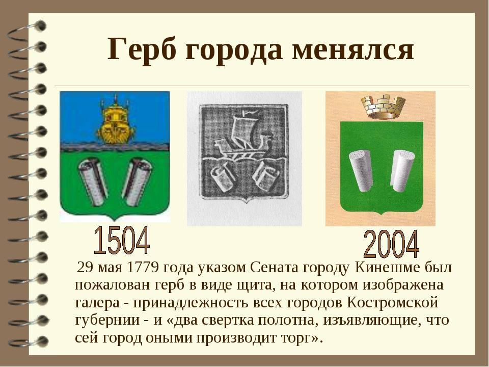 Герб города менялся 29 мая 1779 года указом Сената городу Кинешме был пожалов...