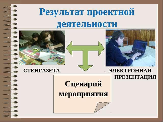 Результат проектной деятельности СТЕНГАЗЕТА ЭЛЕКТРОННАЯ ПРЕЗЕНТАЦИЯ Сценарий...