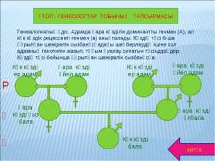 І ТОП - ГЕНЕОЛОГТАР ТОБЫНЫҢ ТАПСЫРМАСЫ Генеалогиялық әдіс. Адамда қара көзділ