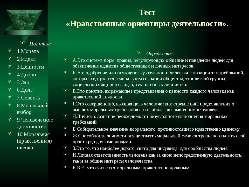 Тест «Нравственные ориентиры деятельности». Понятие 1.Мораль 2.Идеал 3.Ценнос...