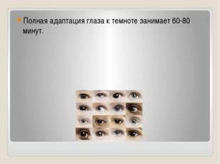 Полная адаптация глаза к темноте занимает 60-80 минут.