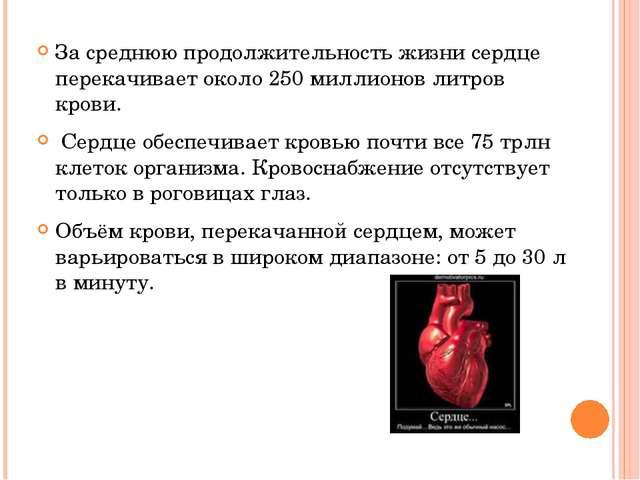 За среднюю продолжительность жизни сердце перекачивает около 250 миллионов ли...