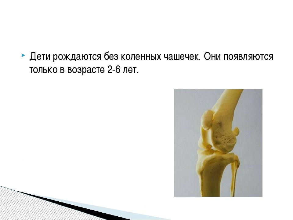 Дети рождаются без коленных чашечек. Они появляются только в возрасте 2-6 лет.