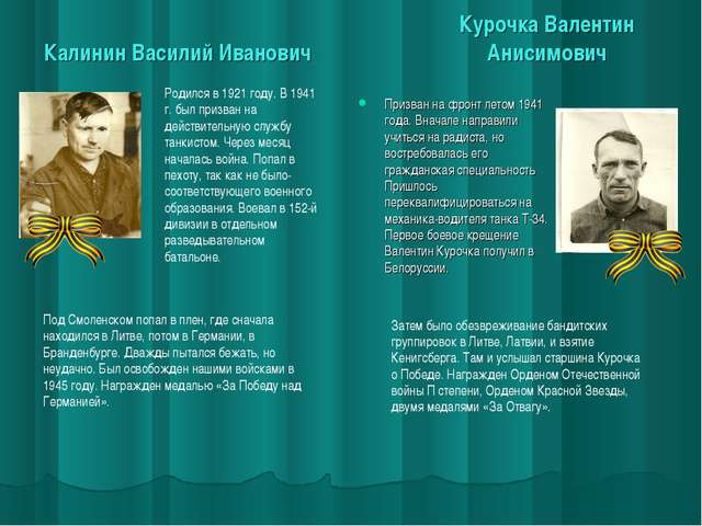 Калинин Василий Иванович Курочка Валентин Анисимович Призван на фронт летом 1...