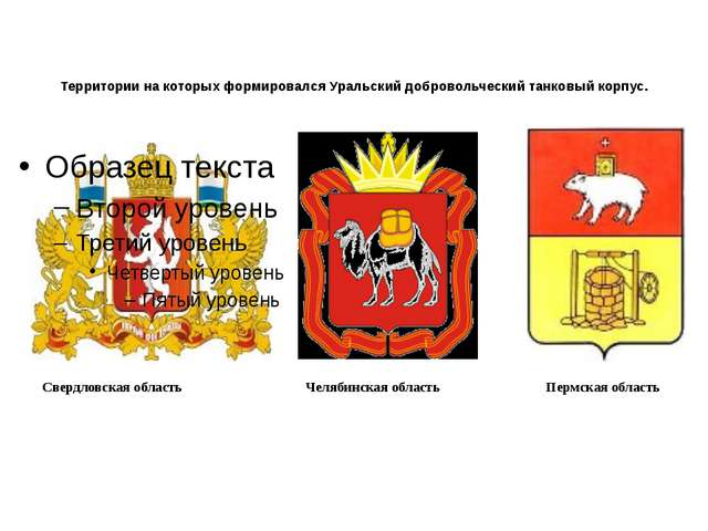 Территории на которых формировался Уральский добровольческий танковый корпус....