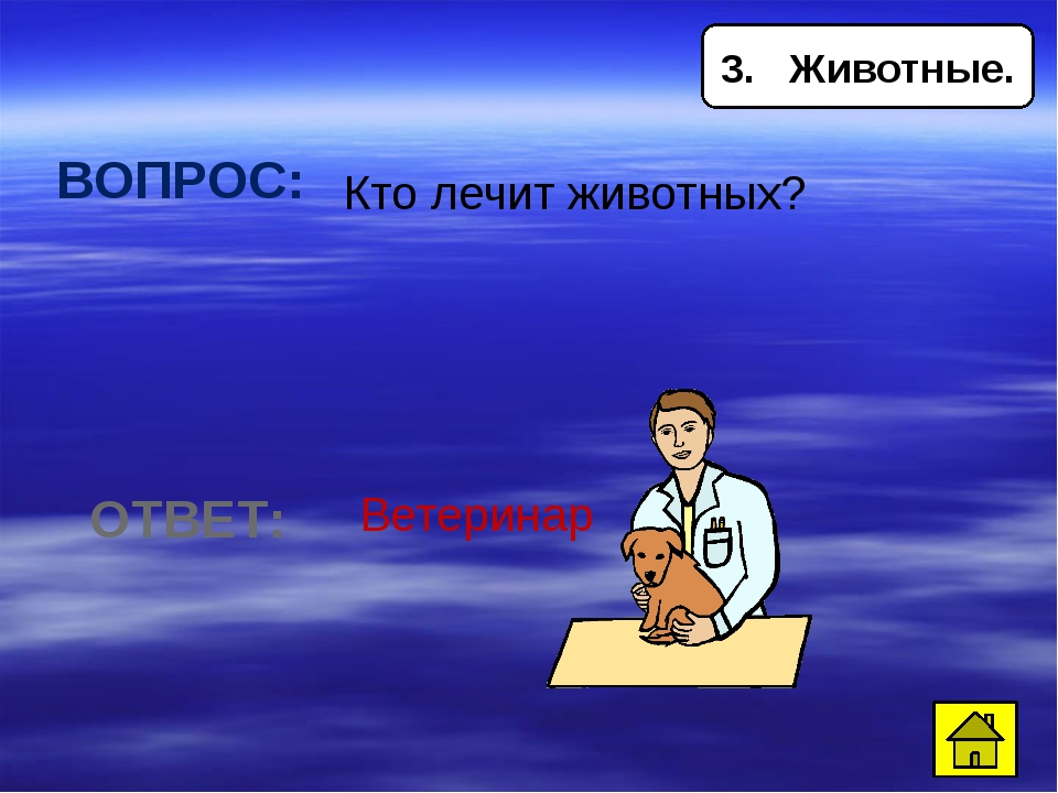 5. Животные ВОПРОС: Какая птица строит гнездо на крыше домов? ОТВЕТ: Аист