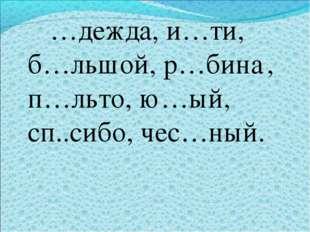 …дежда, и…ти, б…льшой, р…бина, п…льто, ю…ый, сп..сибо, чес…ный.