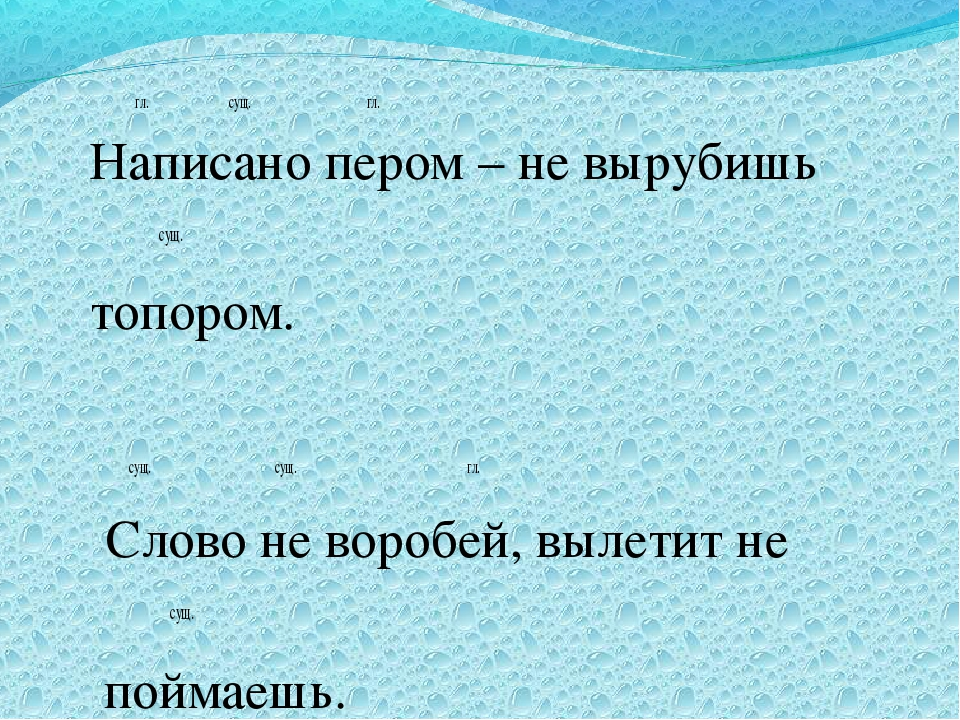 гл. сущ. гл. Написано пером – не вырубишь  сущ. топором. сущ.  сущ.  гл....