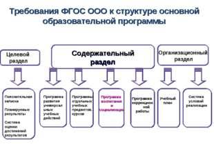 Требования ФГОС ООО к структуре основной образовательной программы Целевой ра