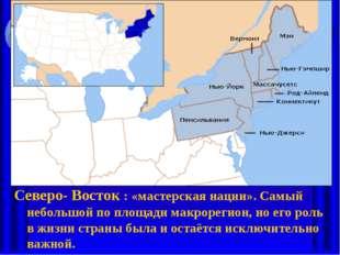 Северо- Восток : «мастерская нации». Самый небольшой по площади макрорегион,