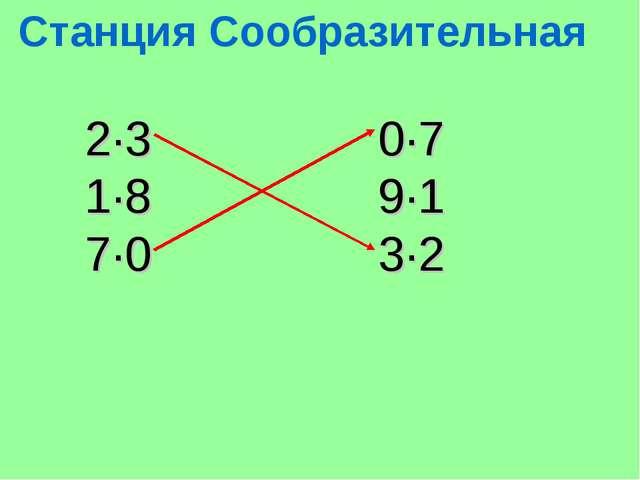 Станция Сообразительная 2·3 0·7 1·8 9·1 7·0 3·2