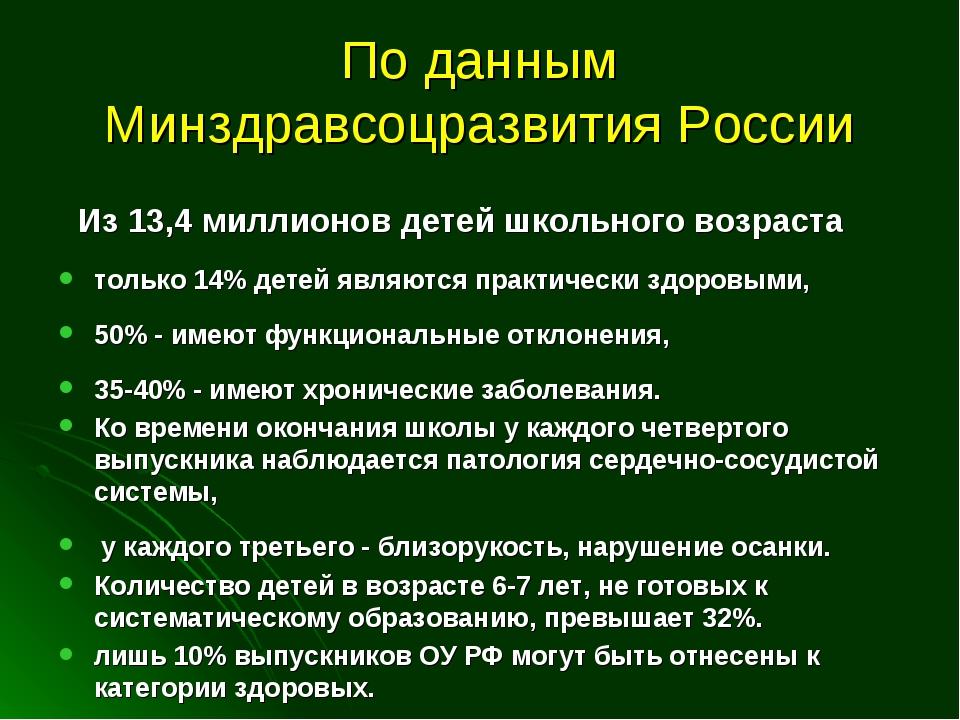 По данным Минздравсоцразвития России Из 13,4 миллионов детей школьного возрас...