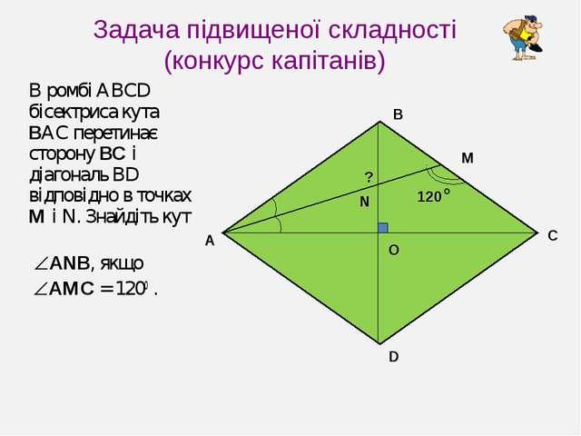 Задача підвищеної складності (конкурс капітанів) В ромбі ABCD бісектриса кута...