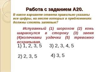 Работа с заданием А20. Испуганный (1) шорохом (2) конь шарахнулся в сторон