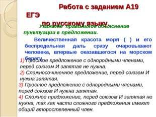 Работа с заданием А19 ЕГЭ по русскому языку. Величественная красота мор