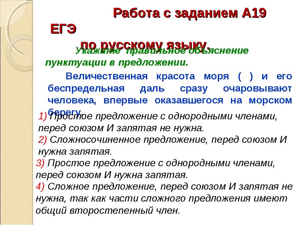 Работа с заданием А19 ЕГЭ по русскому языку. Величественная красота мор...