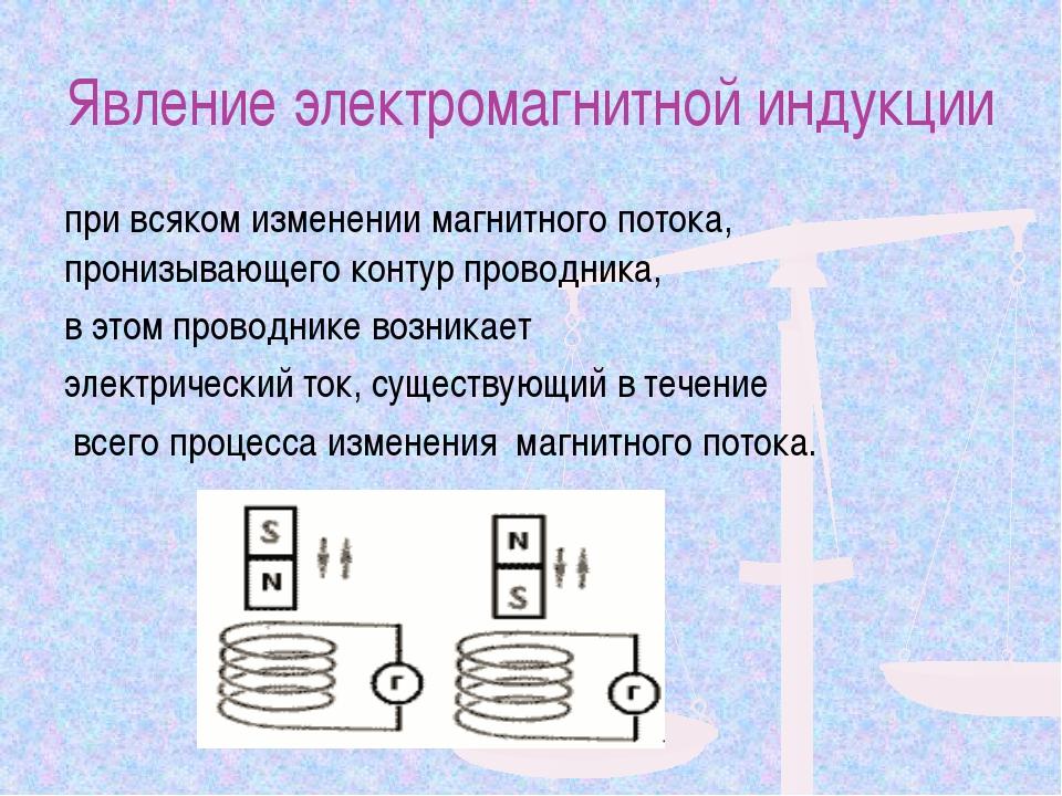 Явление электромагнитной индукции при всяком изменении магнитного потока, про...
