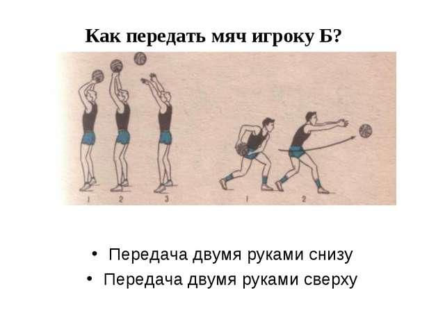 Как передать мяч игроку Б? Передача двумя руками снизу Передача двумя руками...