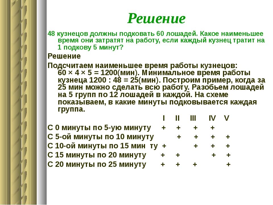Решение 48 кузнецов должны подковать 60 лошадей. Какое наименьшее время они з...