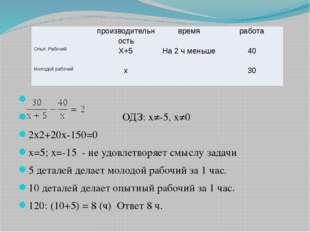 ОДЗ: х≠-5, х≠0 2х2+20х-150=0 х=5; х=-15 - не удовлетворяет смыслу задачи 5 д