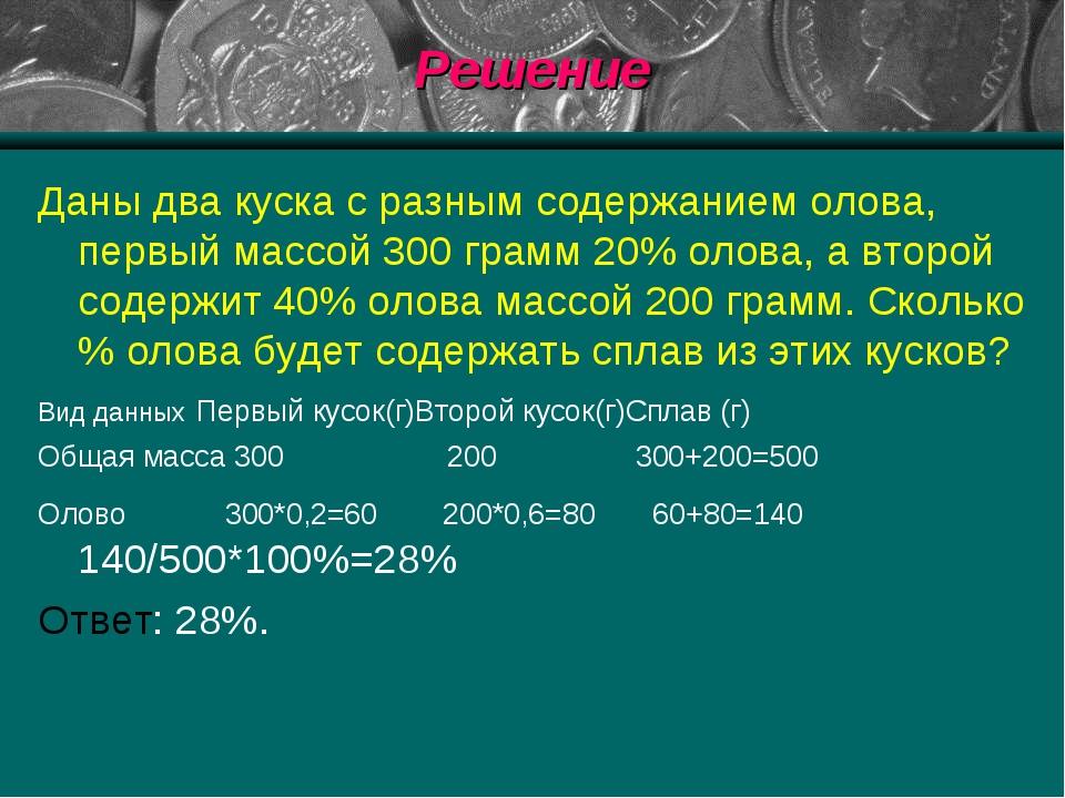 Решение Даны два куска с разным содержанием олова, первый массой 300 грамм 20...
