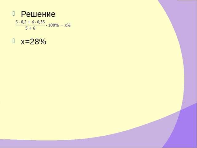 Решение х=28%