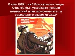 В мае 1929 г. на 5 Всесоюзном съезде Советов был утверждён первый пятилетний