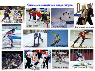 Зимние олимпийские виды спорта Шорт-трек Сноубординг Фристайл Скелетон Биатл