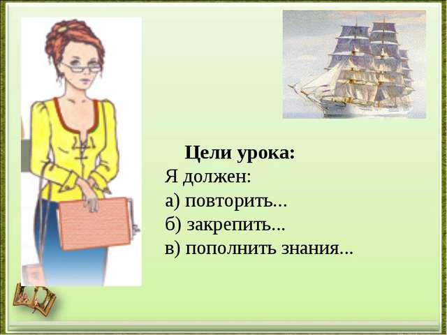 Цели урока: Я должен: а) повторить... б) закрепить... в) пополнить знания...