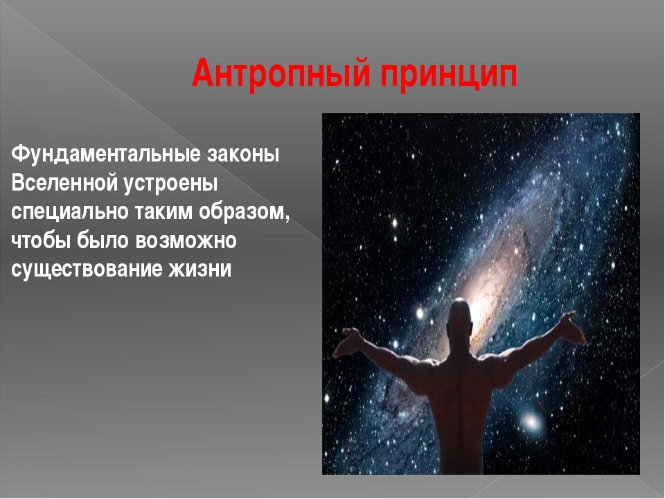 Антропный принцип Фундаментальные законы Вселенной устроены специально таким...